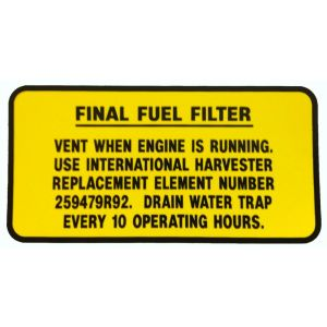 8000220 Decal, Fuel Filter