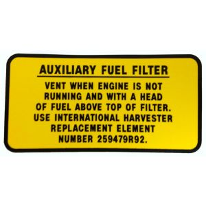 8000221 Decal, Aux Fuel Filter