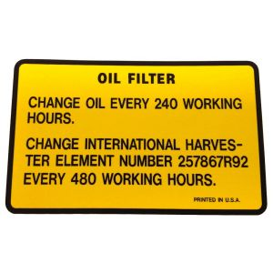 8000223 Decal, Oil Filter
