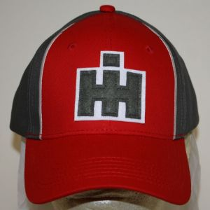 BC142 IH Gray & Red Patch Logo Cap