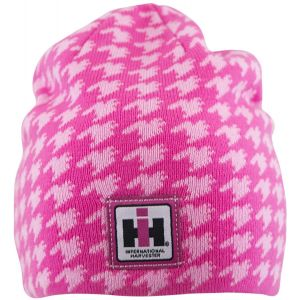 BC154 IH Women's Reversible Pink Houndstooth Knit Beanie